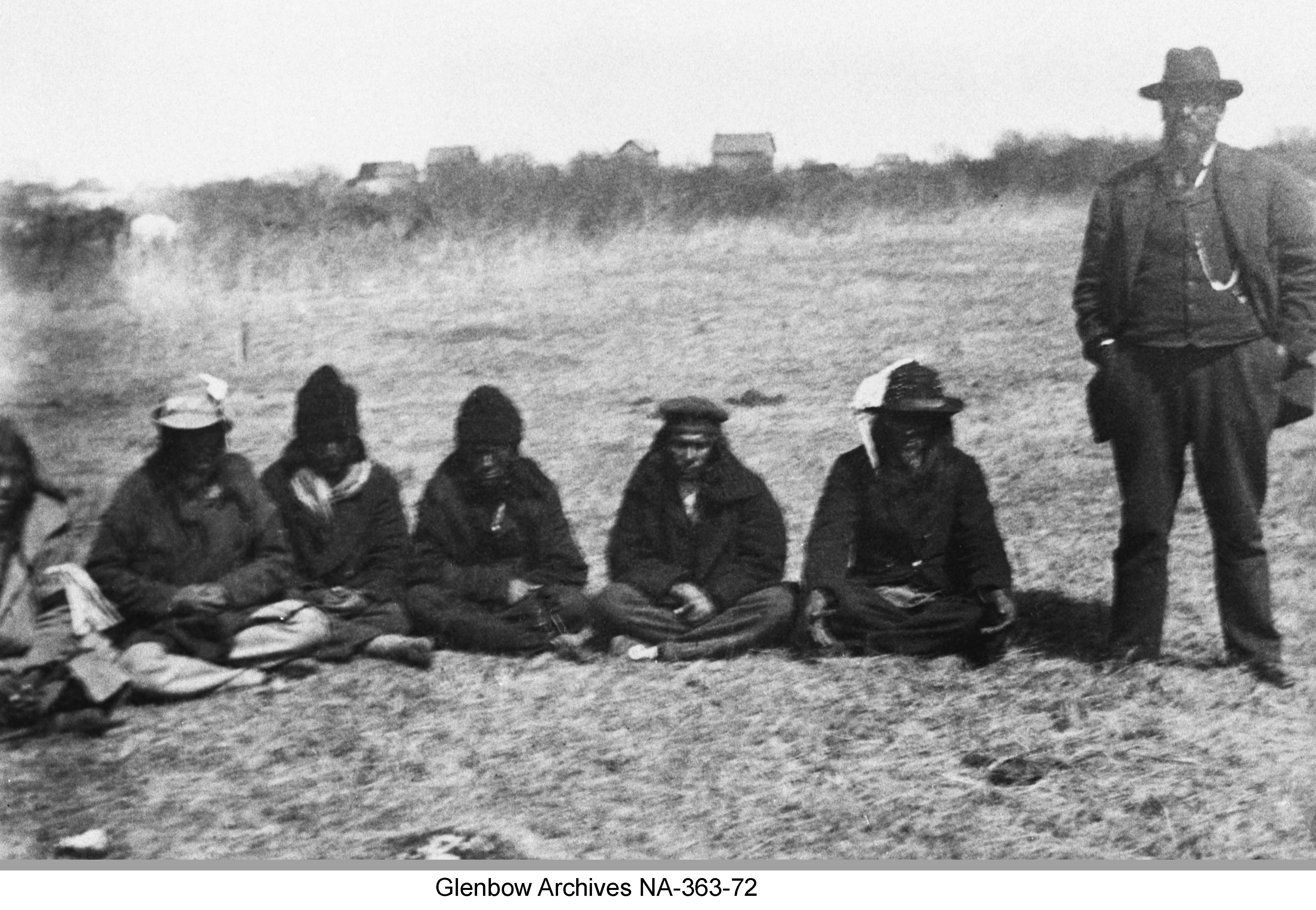 Chief Beardy and men with interpreter
